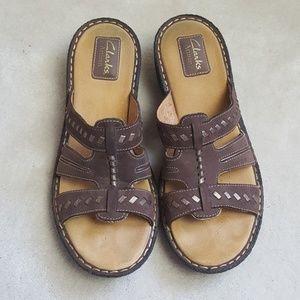 Clarks Artisan Leather Slide Sandals
